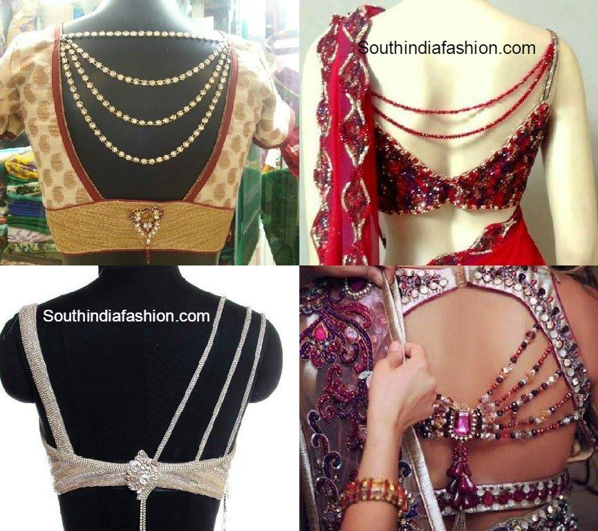 42f74e0cad78a Jeweled Back Neck Saree Blouses