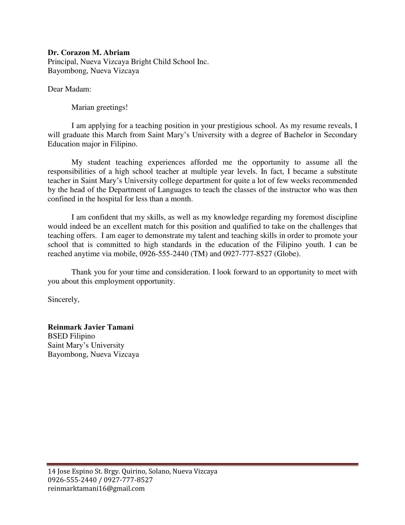 Contoh Surat Lamaran Kerja Dalam Bahasa Inggris Kelas 12 Id Lif Co Id