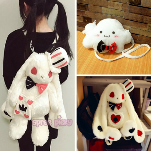 Lolita Kawaii Bunny Plush Shoulder Bag/Backpack SP165875 #bunnyplush