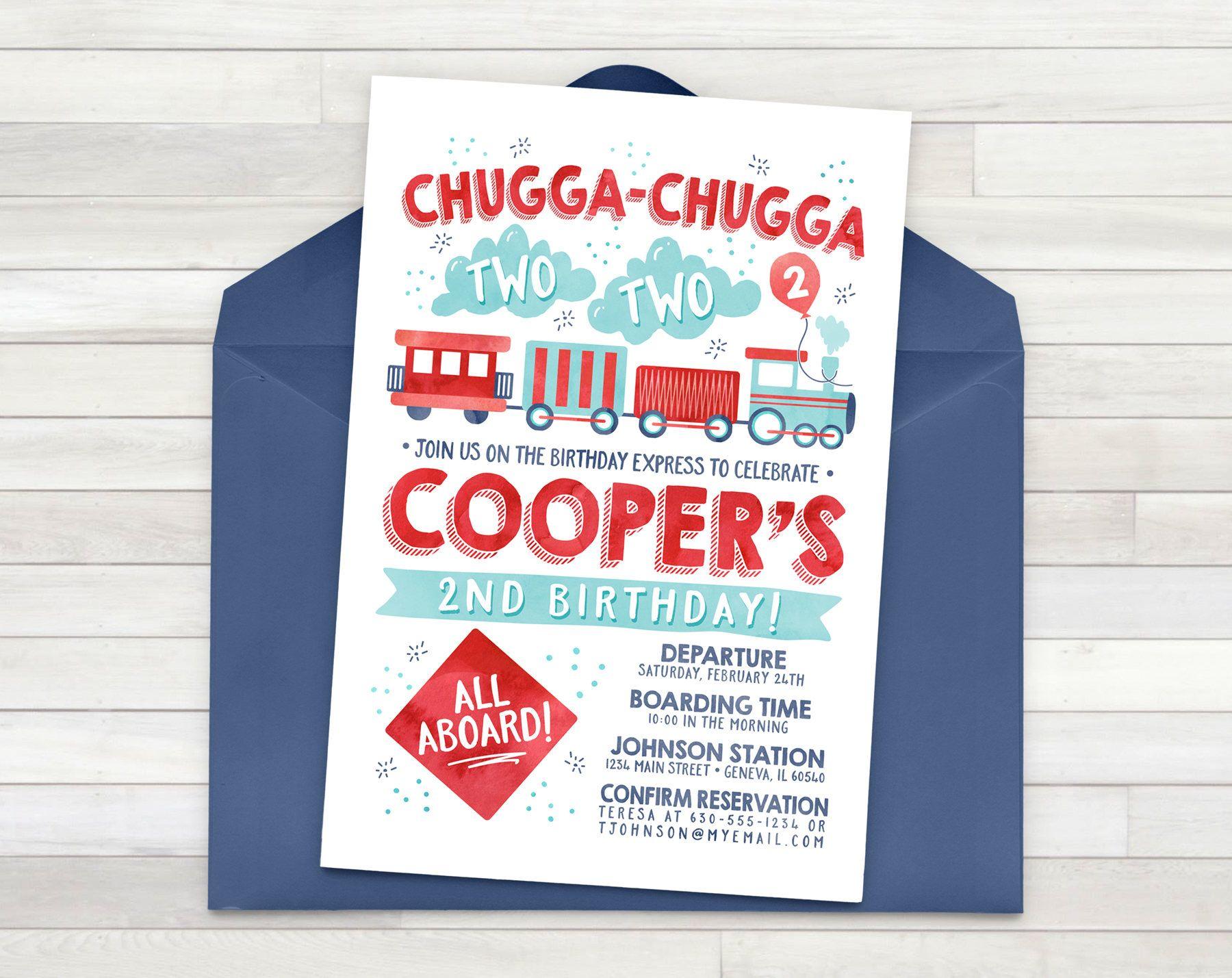 Train Party Invitation Birthday Chugga
