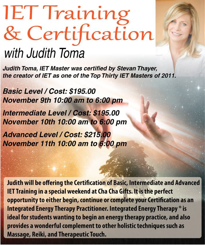 Judith Toma will be offering the Certification of Basic ...