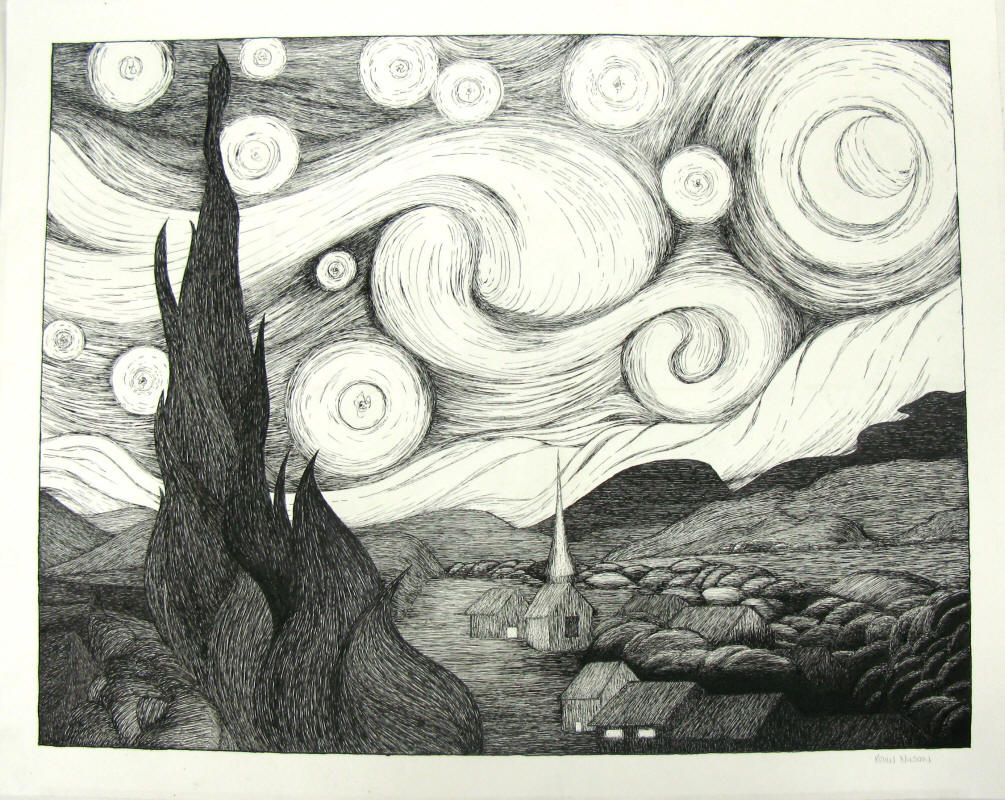 Starry Night Student Drawing