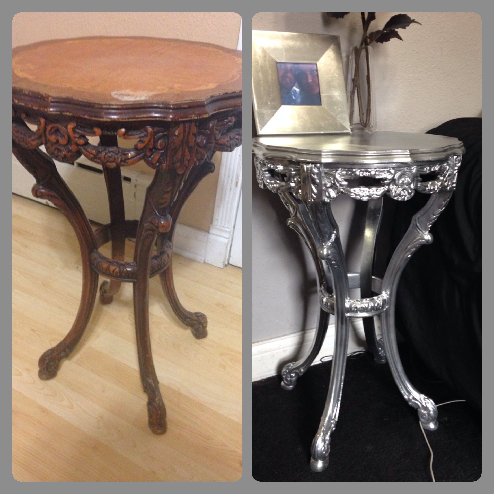 Rustoleum Chrome Finish Spray Paint Before And After Refurbished Furnirure Pinterest