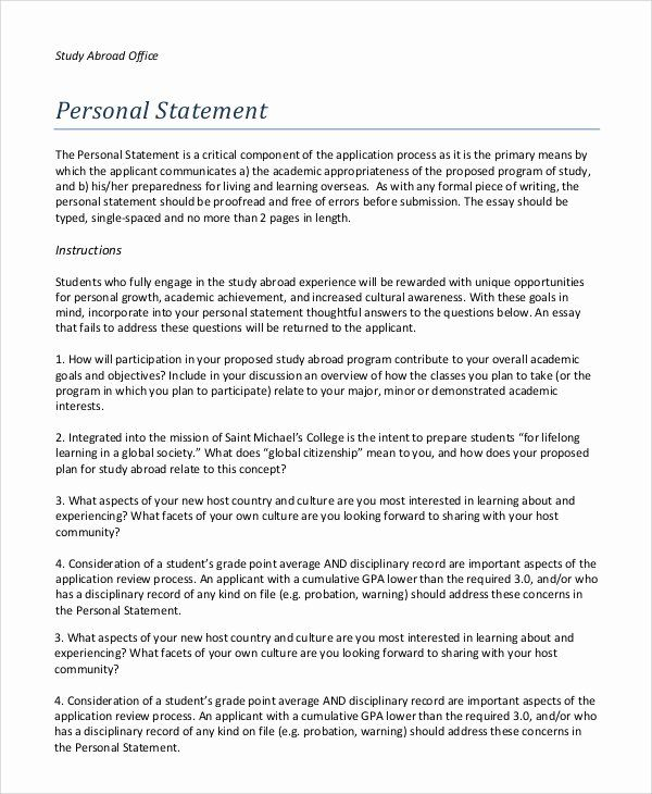 Resume Study Abroad Example Awesome Personal Statement Sample Template 8 In Pdf Wo Teacher Job Of Experience