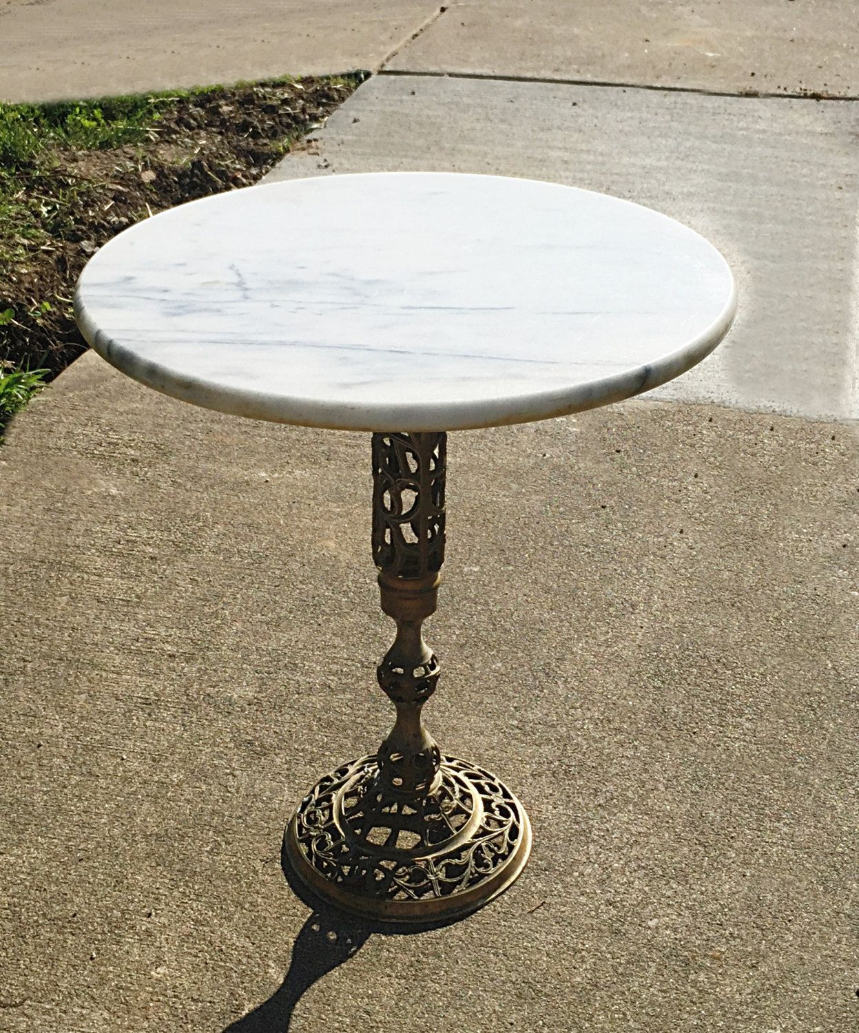 Marble Top Brass Coffee Table.Vintage Regency Marble Top Table Solid Brass Base Excellent Side