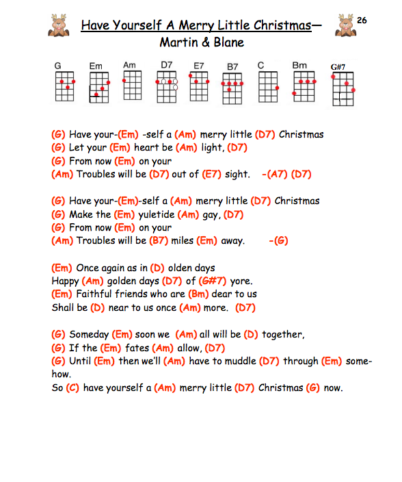 Have Yourself A Merry Little Christmas Judy Garland Ukulele Chords