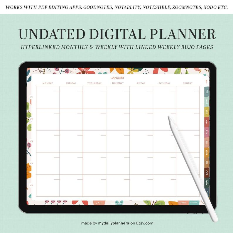 UNDATED Digital Planner  Goodnotes template  iPad Planner  | Etsy