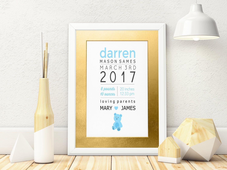 Printable art baby boy newborn announcement nursery decor wall