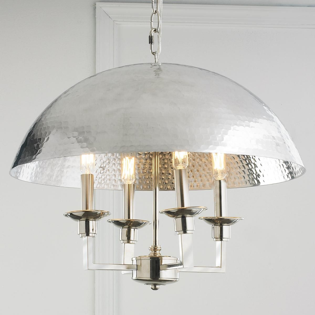 Hammered silver dome chandelier a shining silver dome keeps this hammered silver dome chandelier a shining silver dome keeps this chandeliers look sleek while the hammered cheap lightingmodern arubaitofo Choice Image