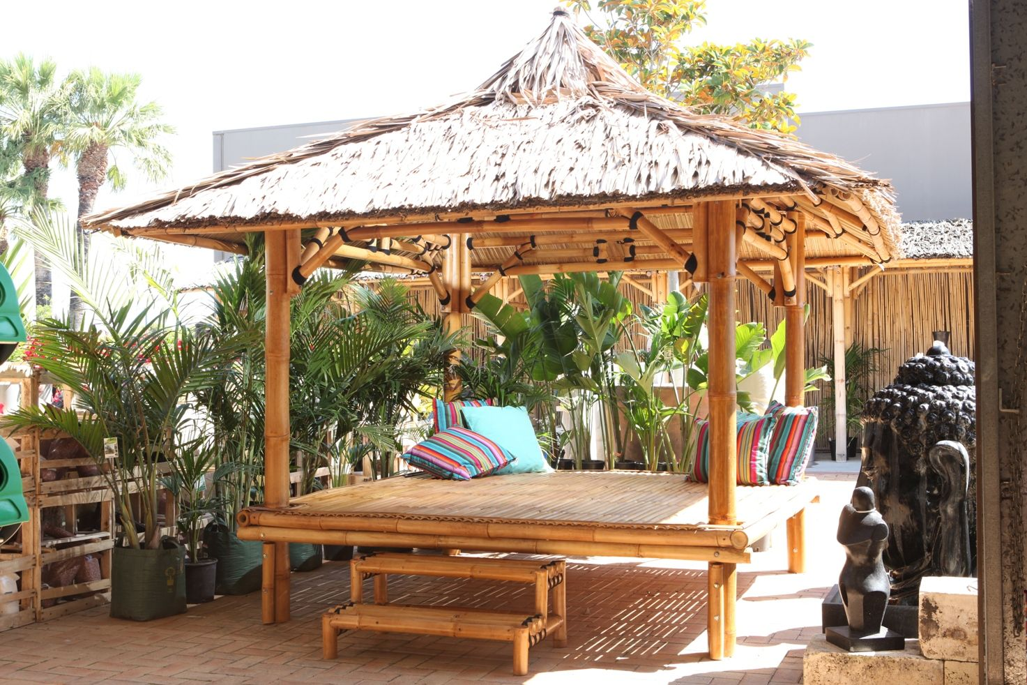 Bamboo Gazebo 2 5 X 2 5 With Floor Thatch Roof Other Sizes Available Drovers Gazebo Bali Huts Buy Gazebo