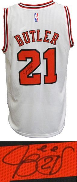 buy online 99ab3 0bca0 Jimmy Butler Signed Chicago Bulls White Official Adidas NBA ...