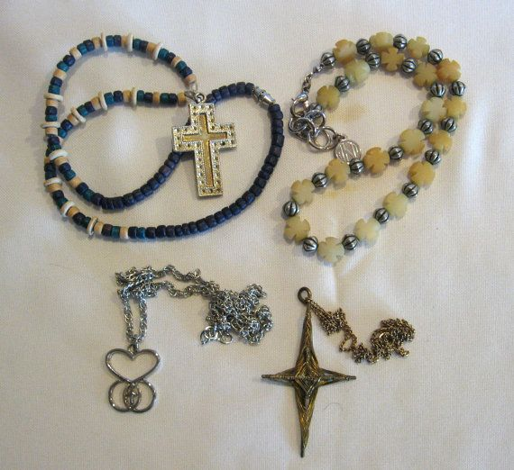 Four Vintage  Necklaces Religious Cross Jewelry