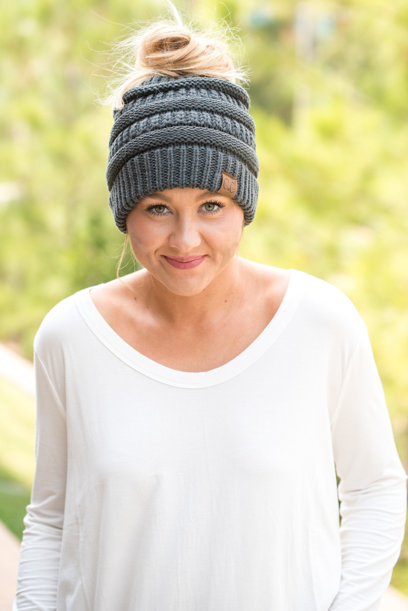 f4a0835ab7f CC solid messy bun beanie dark mel grey from Lush Fashion Lounge