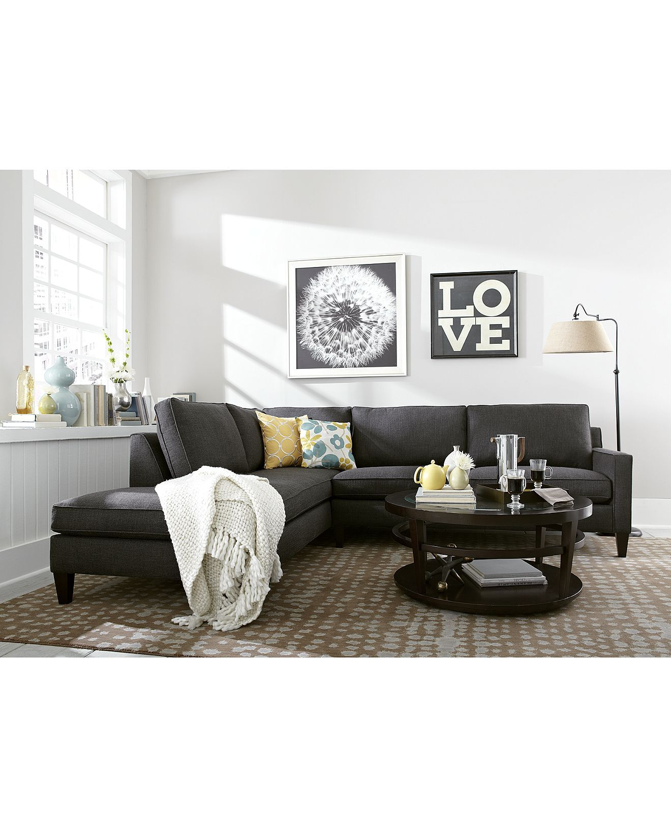 Alanis Fabric Sectional in Charcoal- Macys I like the b&w dandelion ...