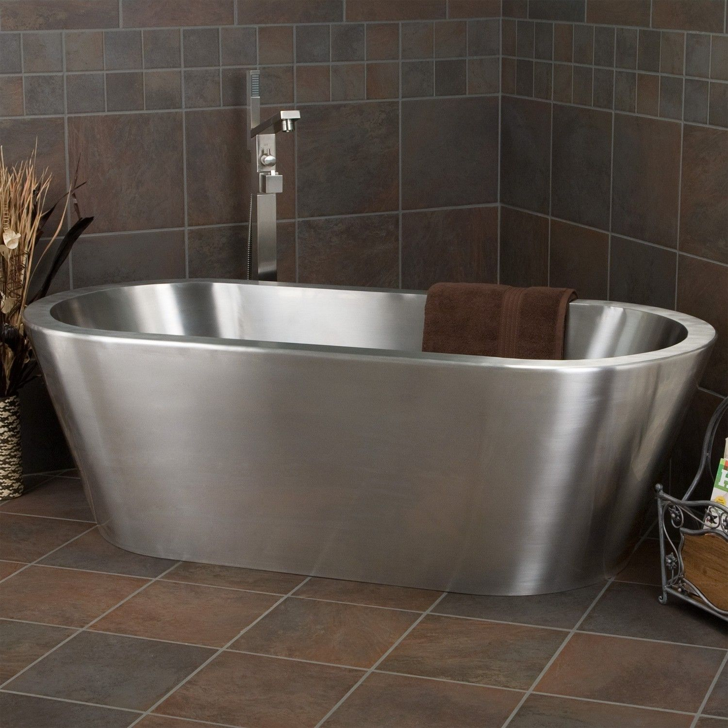 Brushed Stainless Steel Freestanding Tub With Single Tap