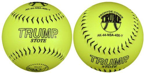 Trump® AK-44-NSA-400-Y AK Series 12 inch NSA Yellow Synthetic Leather Softball (Sold in Dozens) - http://www.closeoutball.com/softball-closeout-sale-discount-free-shipping/trump-ak-44-nsa-400-y-ak-series-12-inch-nsa-yellow-synthetic-leather-softball-sold-in-dozens/