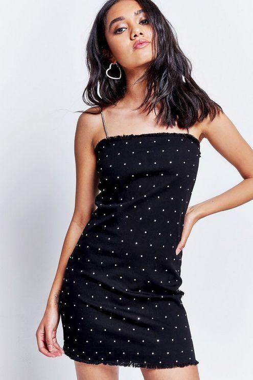 6b423b1822 Womens   Black Denim Diamante Mini Dress by Jaded London - Black