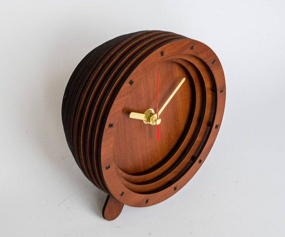 Standing Table Clock Le Wood Gold Arrow Tabletop Small Night Father