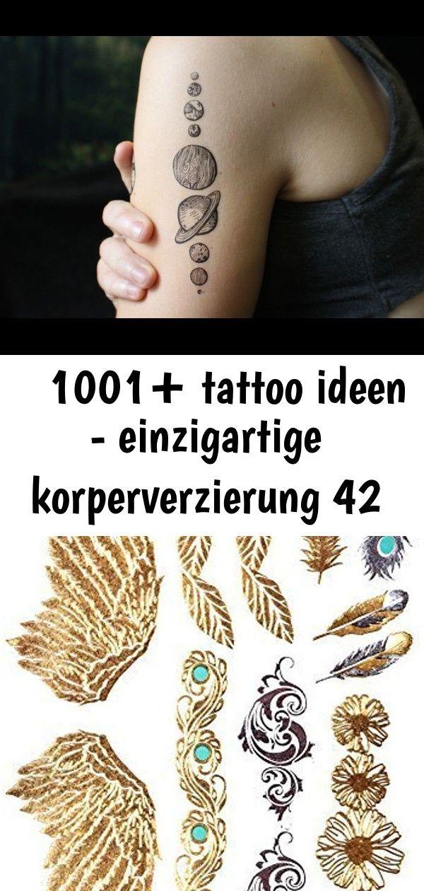 1001 tattoo ideen  einzigartige korperverzierung 42 tattoo vorlagen männer sonne venus erde mars planeten auf arm dekorieren malen zeichnen tattoo GOLD Tattoo Flash...