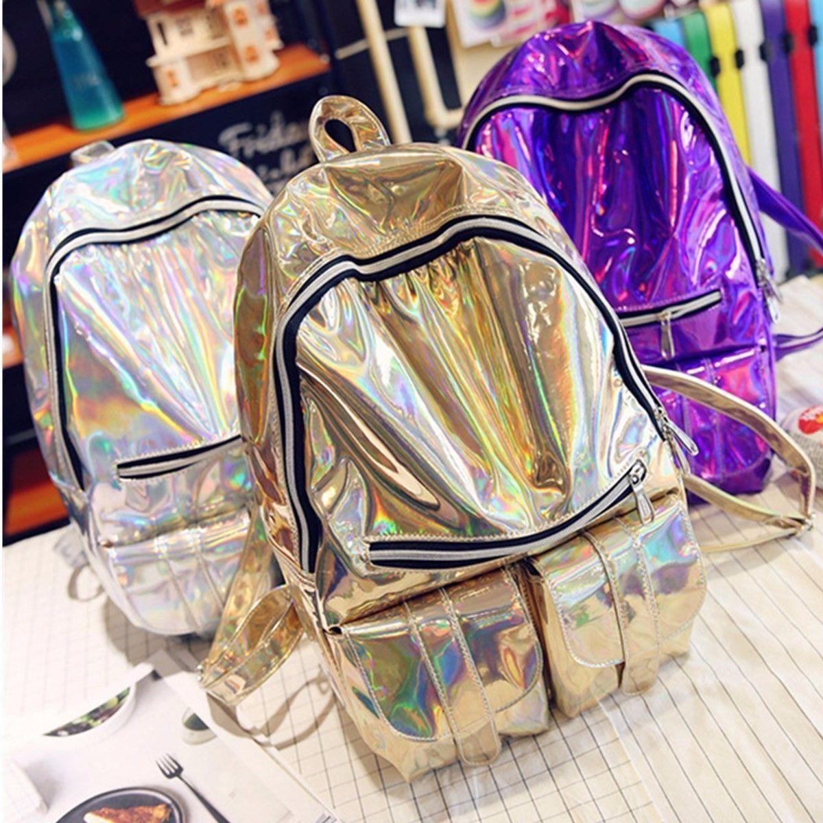 US Women Travel Holographic Gammaray Rucksack Backpack Shoulder School Book  Bag 1593e871f9605