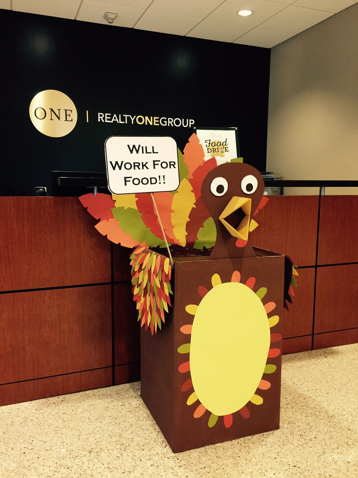 Foster the Food Drive Turkey. Decorated Food Drive box