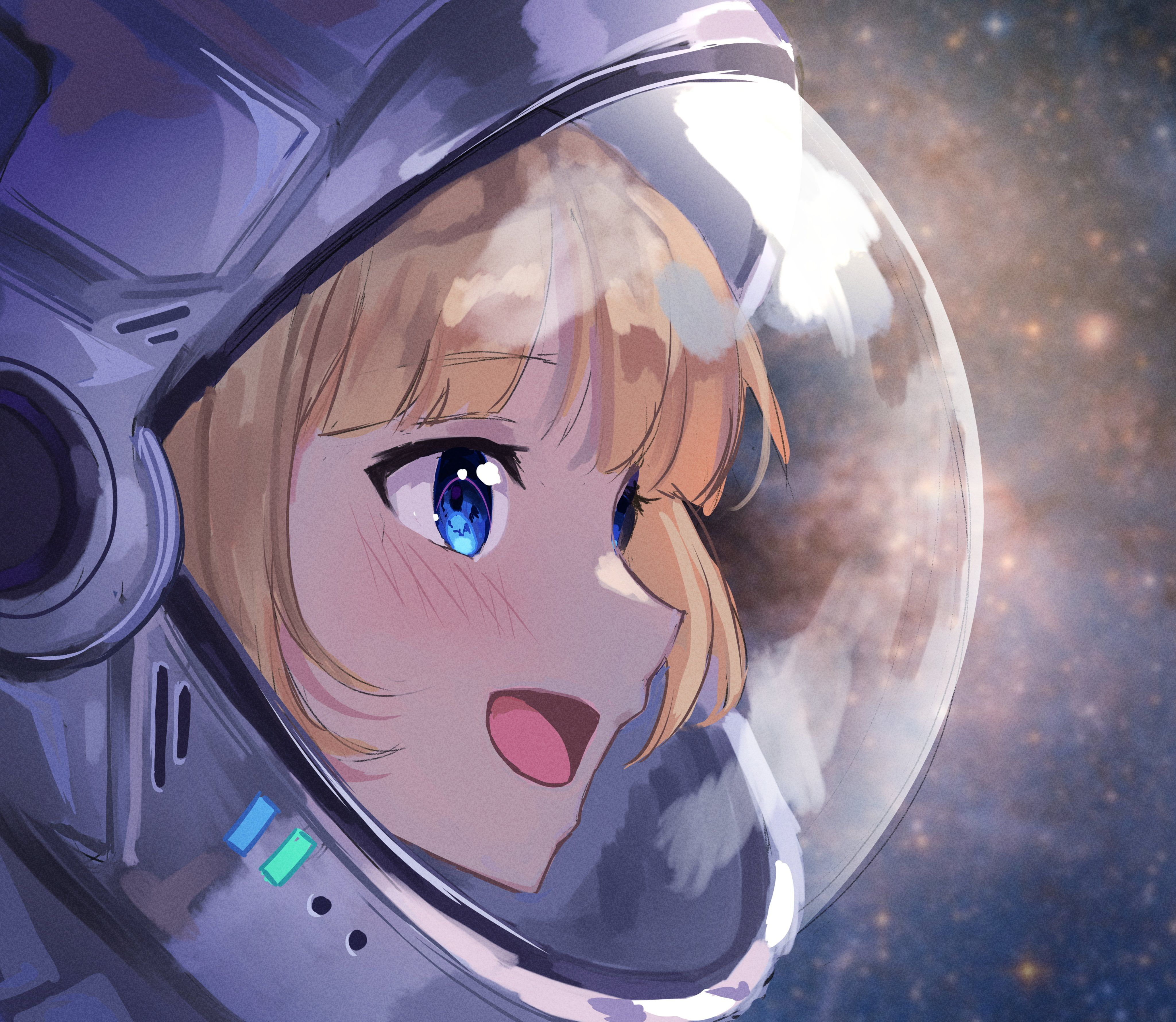 HD wallpaper: anime girls, Hololive, Watson Amelia, space suit, smiling, blue eyes