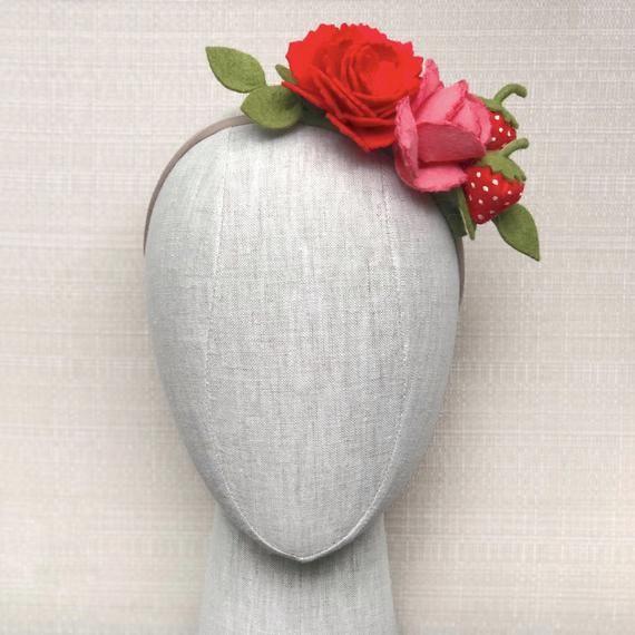 Strawberry Felt Flower Crown, Felt Flower Headband, Photo Prop, Birthday Headband Crown, Flower Girl #feltflowerheadbands