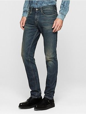 Calvin Klein Mens Online Exclusive Slim Straight Faded Jeans