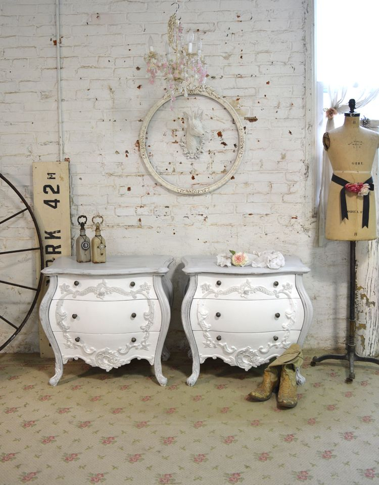 Painted Cottage Chic Shabby White French NIght Tables [NT227] - $790.00 : The Painted Cottage, Vintage Painted Furniture