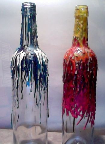 Melt crayons onto wine bottles for beautiful diy art made by anna and myself craft city - How do you melt glass bottles ...