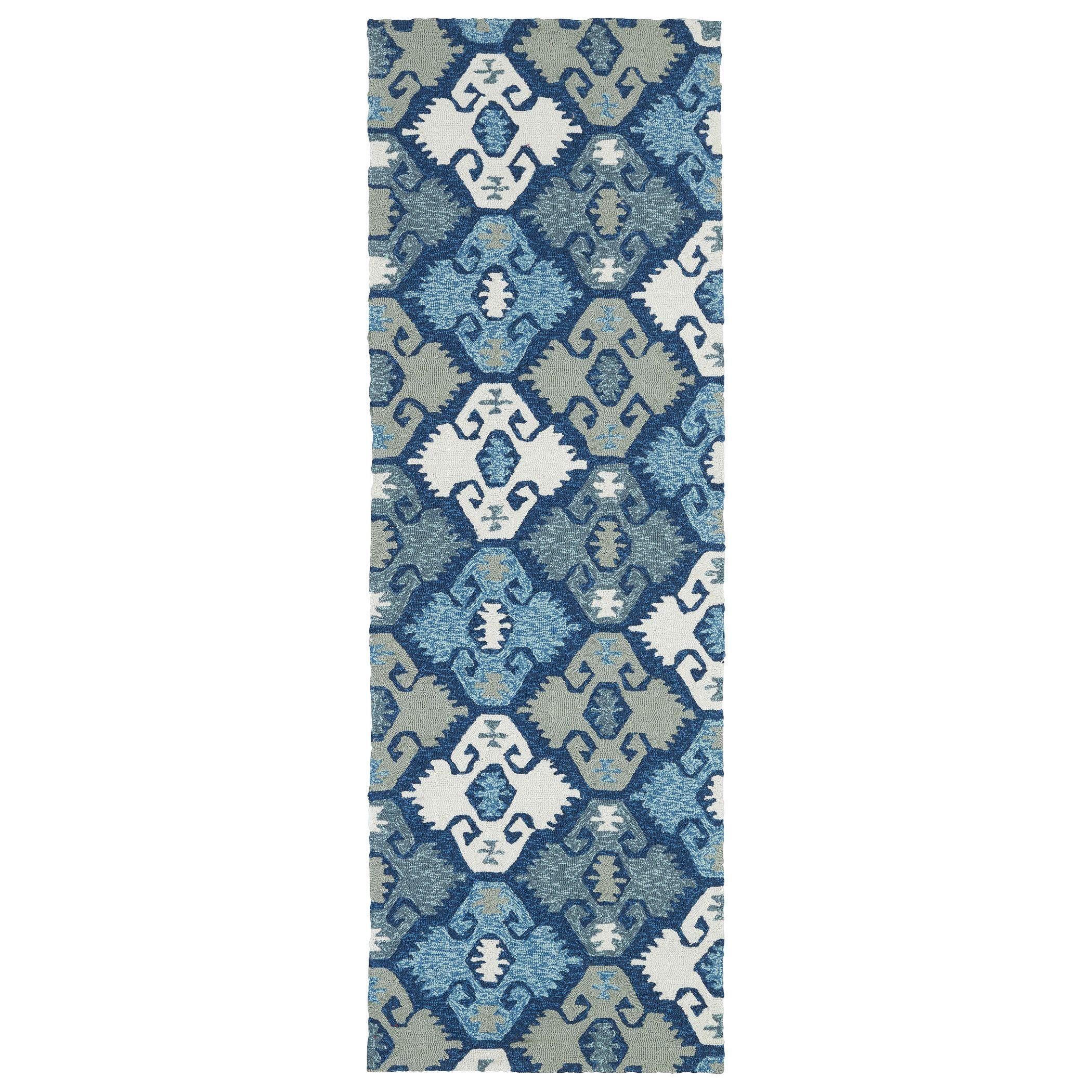 Bombay Home Seaside Blue Nomad Indoor/Outdoor Rug (2\'6 x 8\') (2\'6 x ...