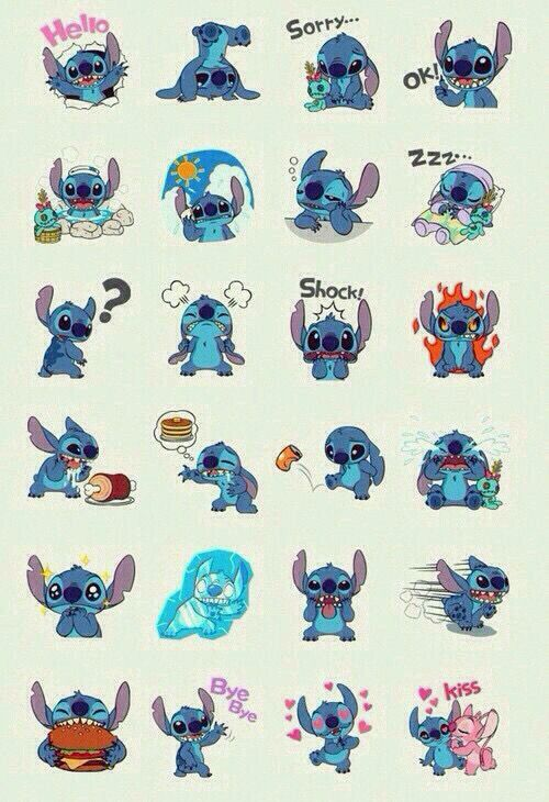 Stitch and his many different emotions