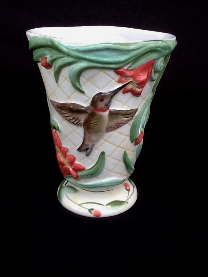 Hummingbird Vase Hand Painted Flowers Inc Balloons