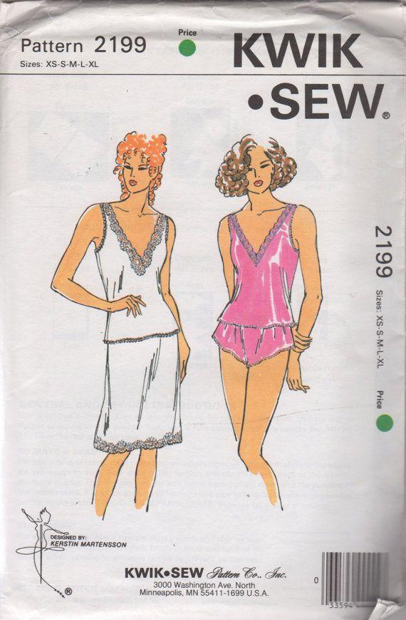 Kwik Sew 2199 1990s Misses V Neck Camisole Half Slip and Panties ...