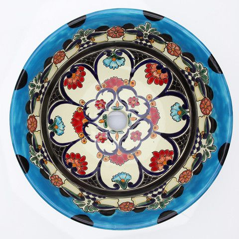 Photo On Mexican La Reina Tall Round Vessel Hand painted Bathroom Basin
