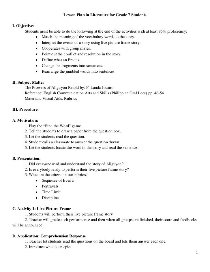 lesson plan in literature for grade 7 studentsi  objectives students must u2026