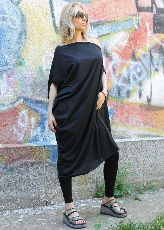 Nori Plus Size Oversized Black Long Loose Asymmetrical T Shirt Tunic Dress Fashion Plus Size Clothes