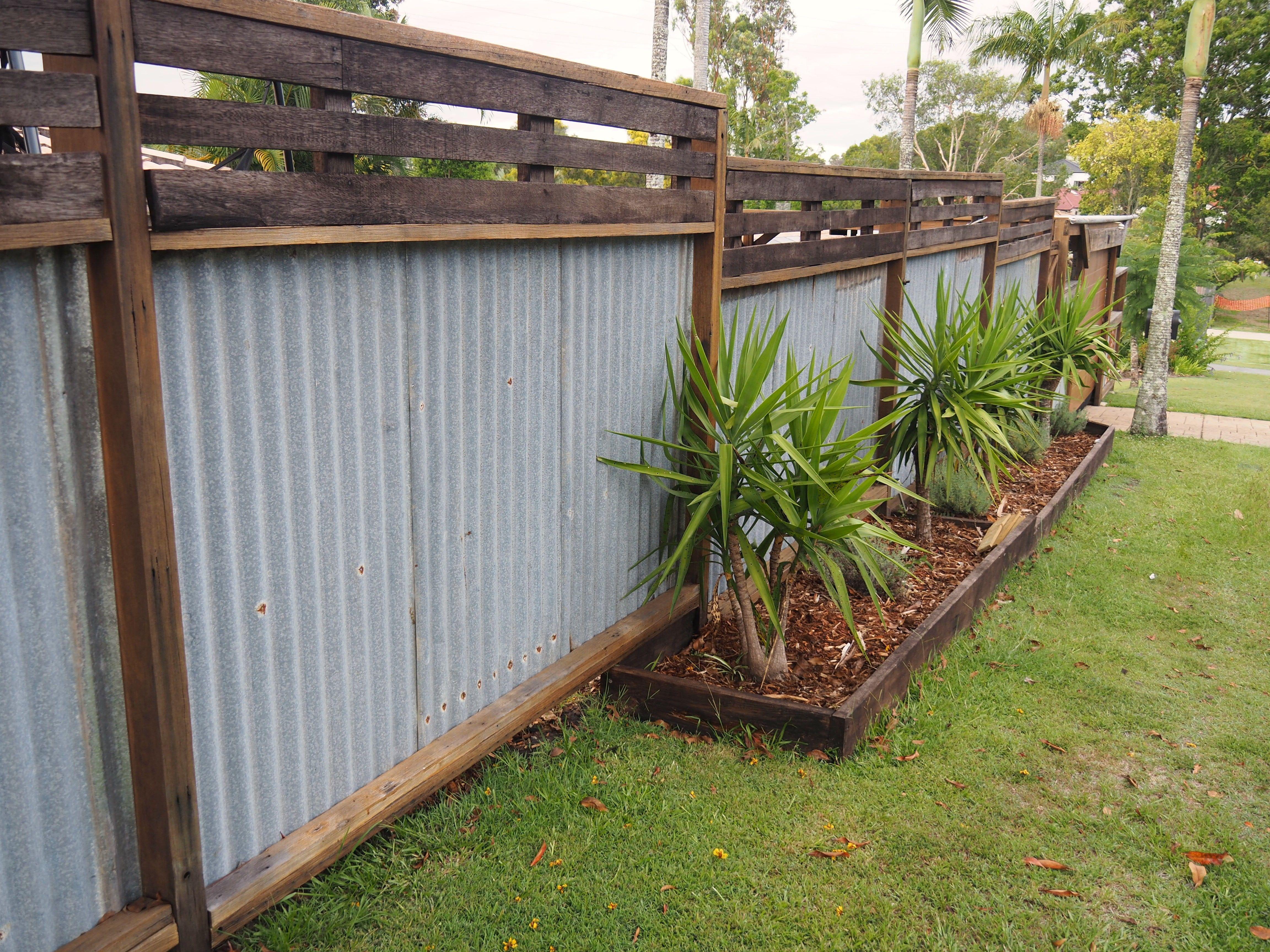 Recycled Hardwood Timber Fence Rusty Corrugated Iron Timber