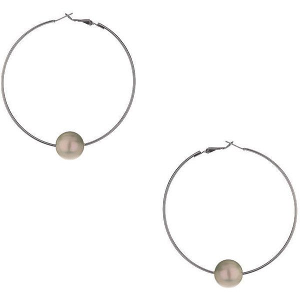 e5dc483582ada TOPSHOP Pearl Hoop Earrings ($15) ❤ liked on Polyvore featuring ...
