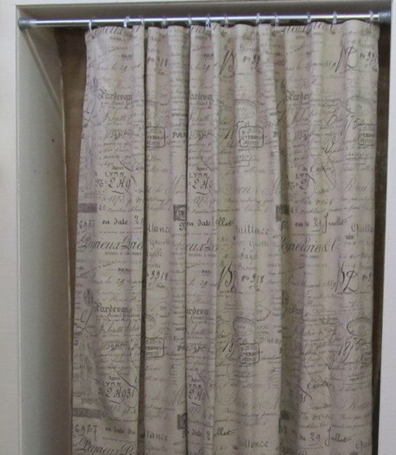 French Script Shower Curtain But The Priceseriously Maybe Find Some Fabric