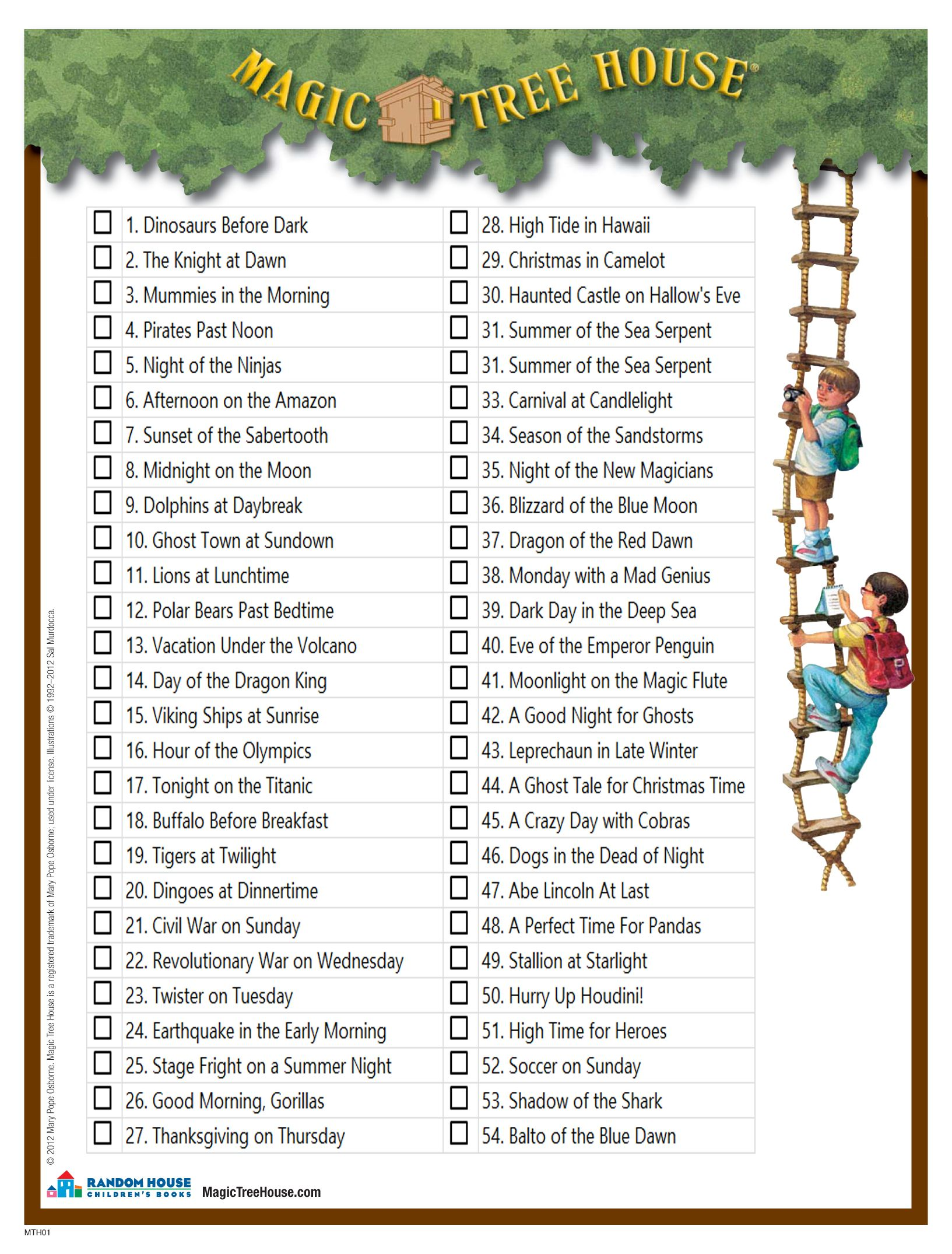 A Checklist Of All The Books In The Magic Tree House Series Lily