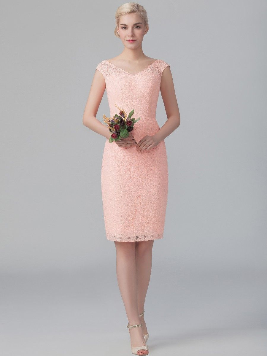 V-neck Lace Dress; Color: Peach Sherbet; Sizes Available: 2-26W ...