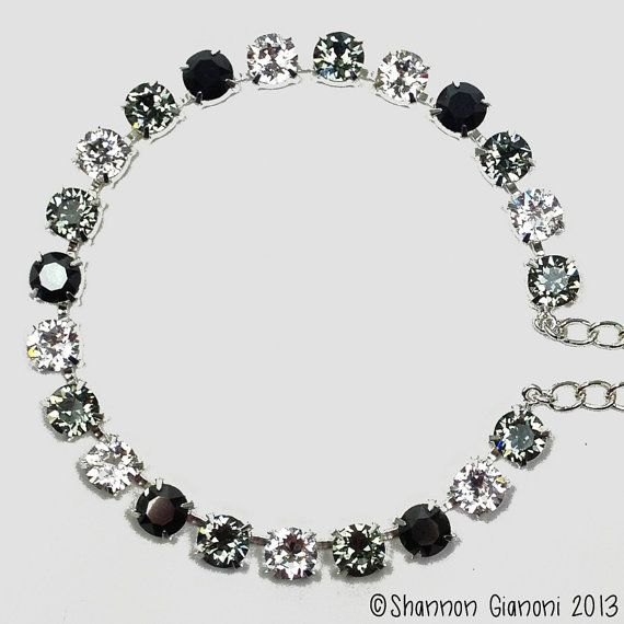 Swarovski Crystal Necklace  Crystal Black Diamond by SayaPapaya, $55.00