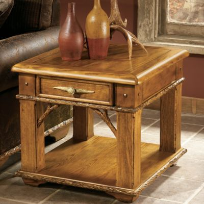 Whitetail Ridge Side Table Cabin Furniture Log Cabin Furniture Rustic End Tables