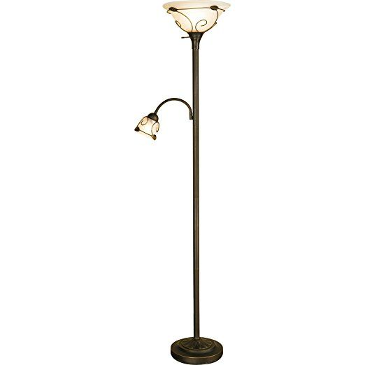 71 Inch Torch Floor Lamp With Adjustable Reading Light For Bedroom