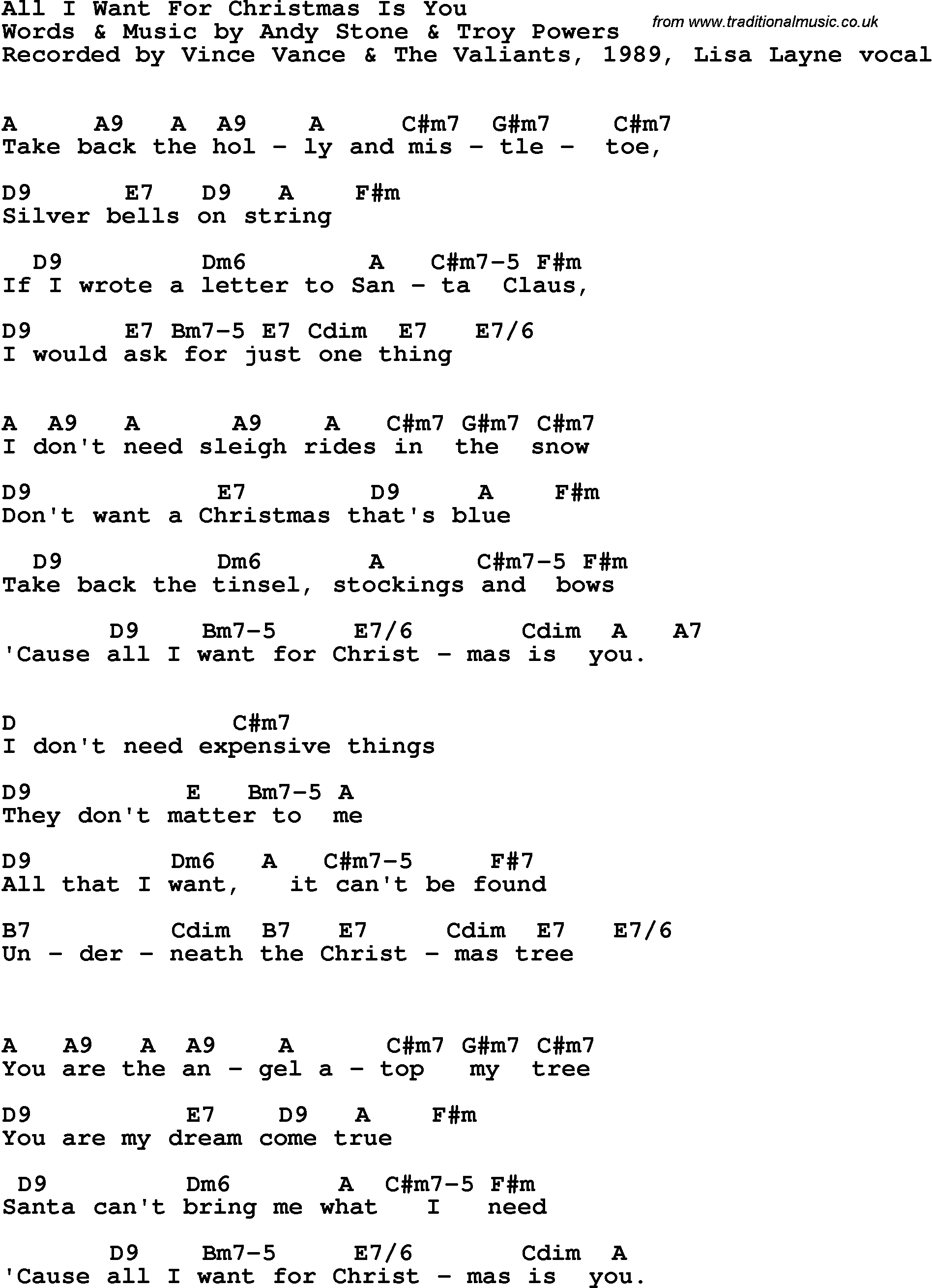Song Lyrics with guitar chords for All I Want For Christmas Is You ...