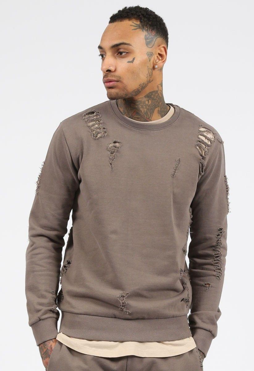 Distressed Sweatshirt Shoreditch Mushroom | Ripped hoodie