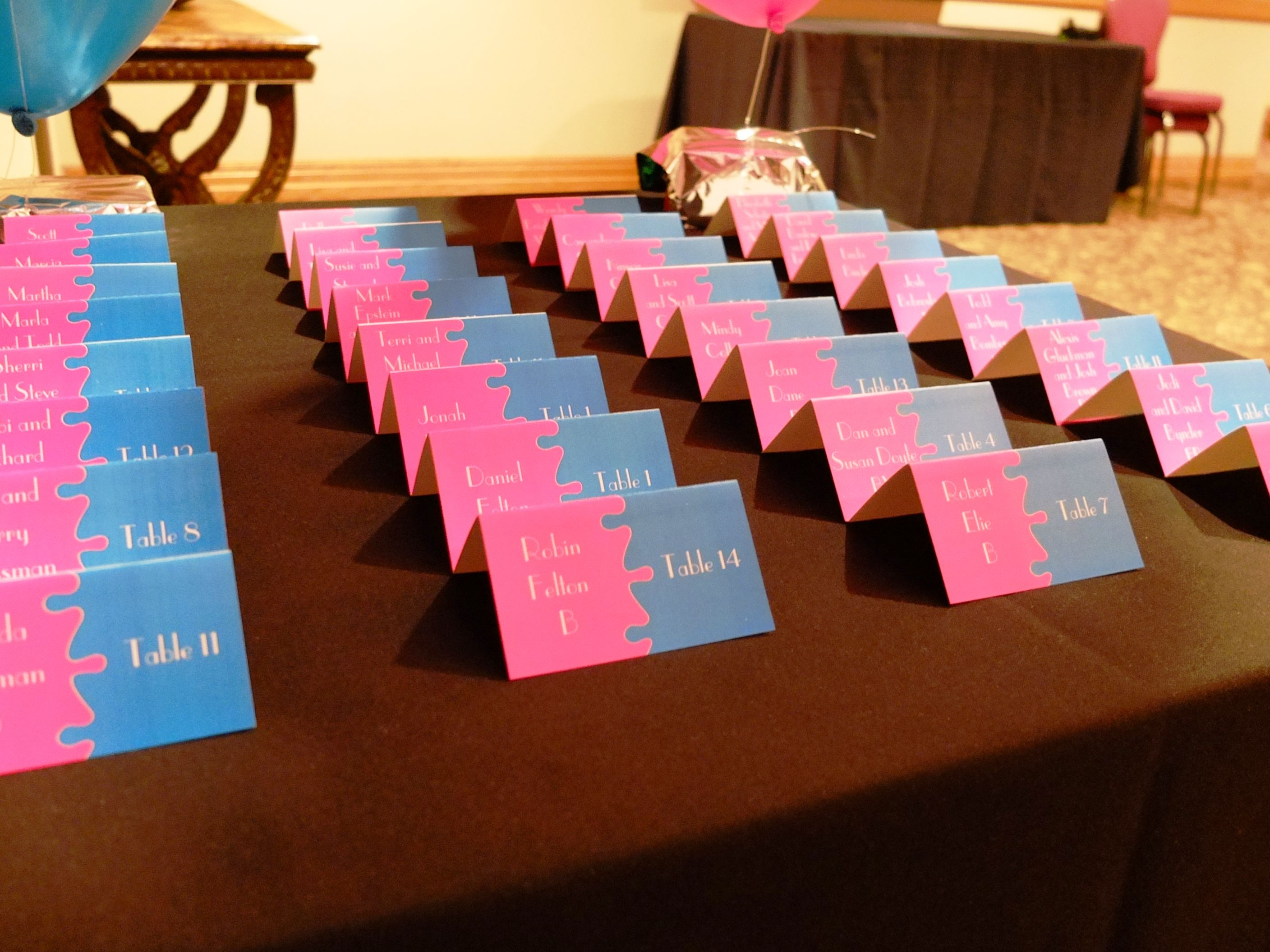Puzzle Piece Theme Bar Bat Bnai Mitzvah Pink And