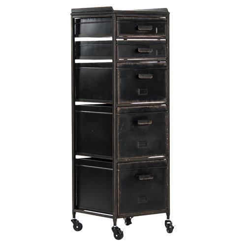 Kiel Industrial Loft Black Metal Vintage 5 Drawer Wheeled Cabinet Office Storage Cabinets Filing Cabinet Office Storage