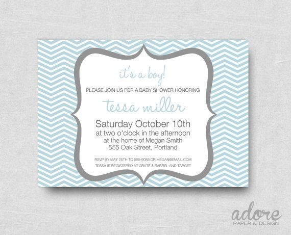 Printable Blue and Grey Chevron Baby Shower by AdorePaperDesign, $10.00